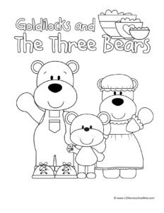Goldilocks and the three bears coloring page with papa bear, mama bear, and baby bear