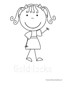 Goldilocks coloring sheet for toddlers, preschoolers, and kindergarnters