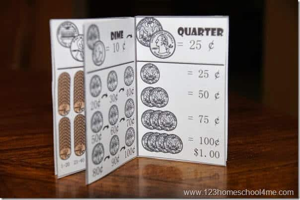 handy reference for any counting money activities -it will teach kids the name and value of american coins: quarters, dime, nickle, and penny