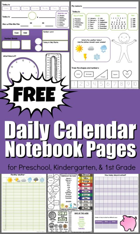 These free printable pages make a super helpful, no prep, daily calendar notebook. These are such a great tool to help kids learn days of the week, months, numbers, and many other skills we sneak in. There are various options for kids from Toddler, Preschool, Kindergarten, 1st grade, and 2nd grade kids. My favorite part is the days of the week and months of the year printable cheat sheet.