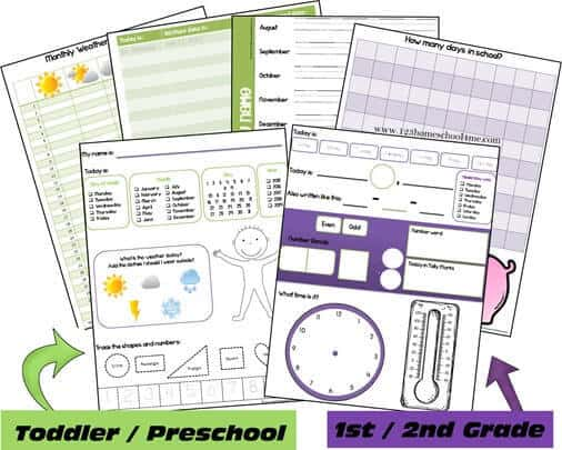 free printable daily calendar - this daily Calendar Notebooking Pages Toddler Preschool 1st grade and 2nd grade