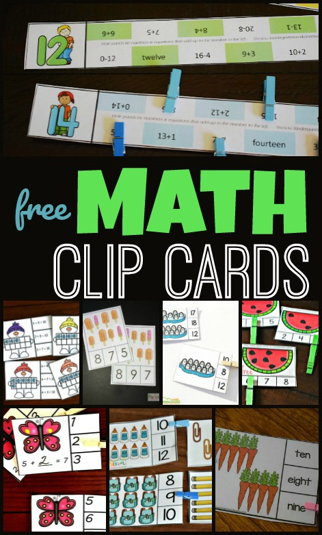 free math clip cards