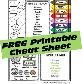 preschool daily notebook - free days of the month sheet and other cheat sheet for kids