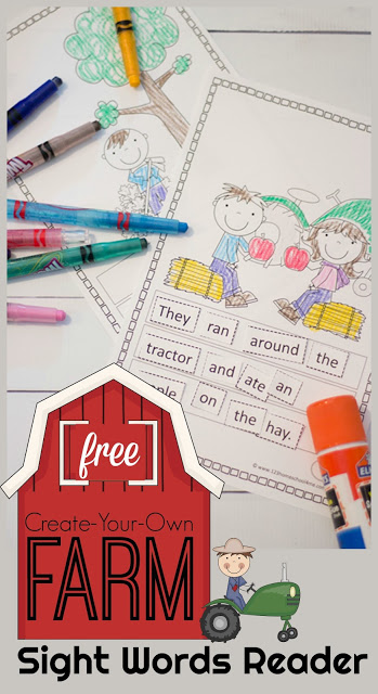 This free printable sight word reader is a fun way for kids to practice dolch sight words, building sentences, and and having fun with a farm printables This cut and paste sight word sentences is perfect for kindergarten and first grade student to practice first Grade Sight Words.  There is also a page of reading comprehension questions. SImply download pdf file with sight words printable and you are ready to practice reading sight words.