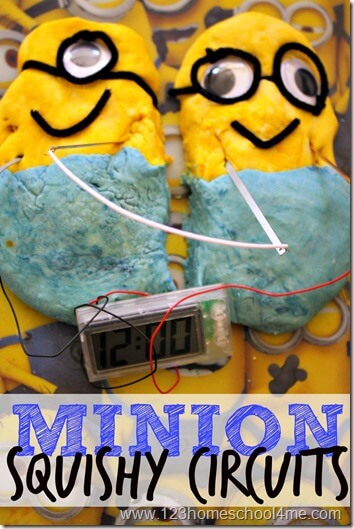 Minions Squishy Circuits - Make a minion clock science experiment that kids of all ages from preschool, kindergarten, and elementary age kids will all LOVE!