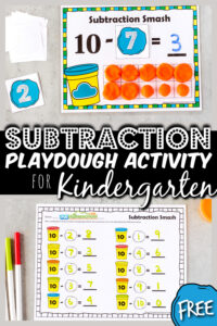 Your kid are going to BEG to practice math with this outrageously FUNsubtraction activity for kindergarten, preschool, pre-k, and first graders. Children will practicesubtraction within 10using playdough and ourfree printable playdough mats. Thissubtraction smash turns the chore ofteaching subtraction into a funmath game for kids! Simply download pdf file withsubtraction games for kids and you are ready to play and learn!