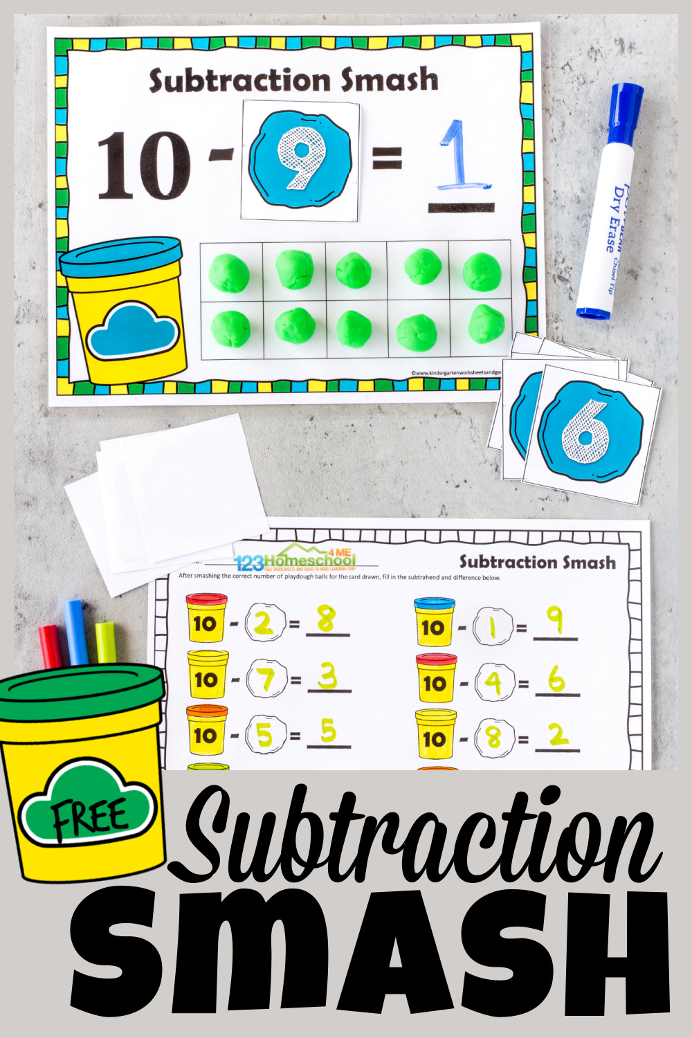 Your kid are going to BEG to practice math with this outrageously FUNsubtraction activity for kindergarten, preschool, pre-k, and first graders. Children will practicesubtraction within 10using playdough and ourfree printable playdough mats. Thissubtraction smash turns the chore ofteaching subtraction into a funmath game for kids! Simply print pdf file with subtraction games for kids and you are ready to play and learn!