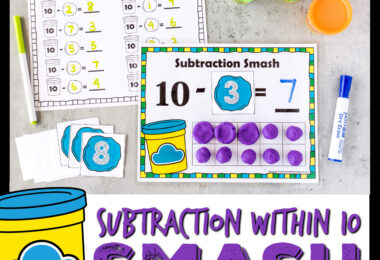 Outrageously FUNsubtraction activity for kindergarten practicessubtraction within 10using playdough and ourfree printable playdough mats.