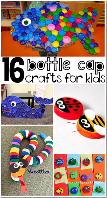 16 Bottle Lid Craft for Kids - so many fun, clever kids crafts for kids of all ages using recycled materials