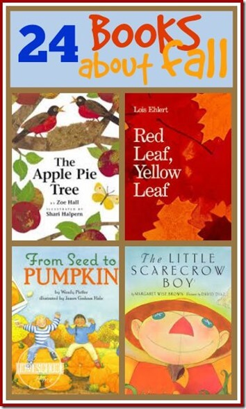24 Fall Books for Kids - leaves, apples, pumpkins, scarecrow, and so much more! Great list for Preschool, Kindergarten, 1st grade #booksforkids #fallbooks #falltheme