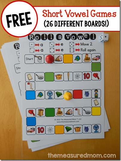 FREE Short Vowel Game for kids Kindergarten - 3rd grade with 26 different boards! Great for homeschool, classrooms, summer learning, tutoring, and more!