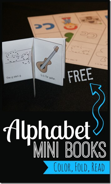 FREE Alphabet Mini Book Printable - LOVE these! Toddler, Preschool and Kindergarten age kids will learn letters, the sounds letters make, and vocabulary with this alphabet printable. There is a mini book for each letter from A to Z. #alphabet #preschool #kindergarten