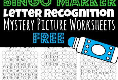 Help children practice letter recognition using bingo markers with these super cute, free printable mystery picture worksheets. These do a dot printables are such a fun way to help children learn their ABCs, strengthen hand muscles, and all while having fun learning alphabet letters. These free worksheets are perfect for toddler, preschool, pre k, and kindergarten,