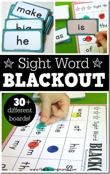 image relating to Free Printable Sight Word Games identified as BLACKOUT Sight Phrase Video games 123 Homeschool 4 Me