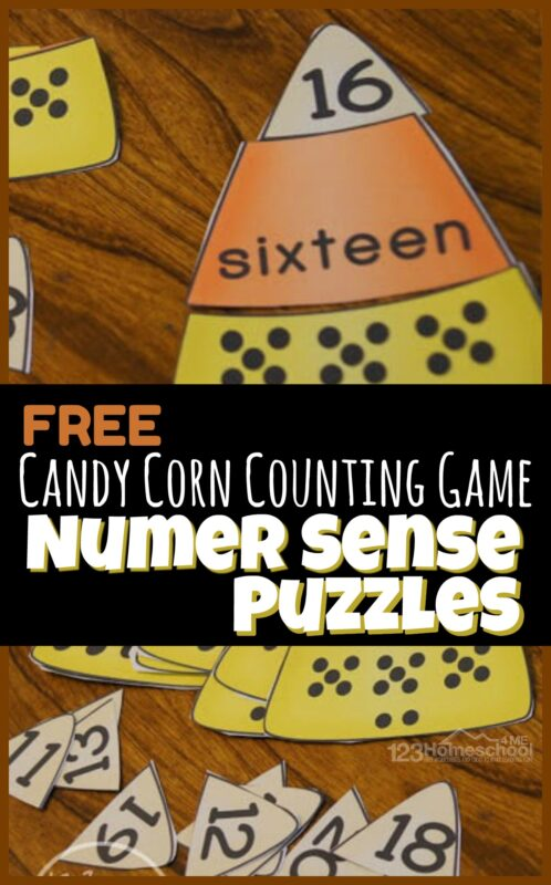 Help young learners work on number sense with this super cute, fall themed candy corn counting game. Simply grab the template in the pdf file to make these number sense puzzles and you are ready to practice counting with preschool, pre k, and kindergarten age students.