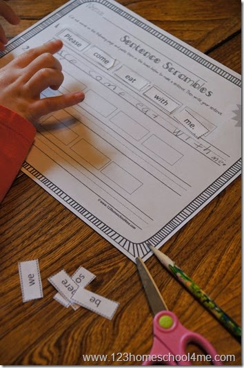 Cut and Paste practice making sentences for Kindergarten 1st grade and 2nd grade kids