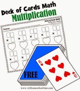 Deck of Cards Multiplicatoin Worksheets
