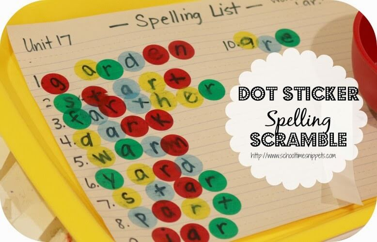 spelling with dot stickers