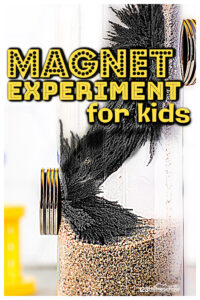 Looking for quick and easy magnet experiments for kids? This magnetic field sensory bottle allows toddler, preschool, pre-k, kindergarten, first grade, 2nd grade, 3rd grade, and 4th graders to explore magnets for kids in a playful way. Kids will be amazed at the power of magnets in this magnet game for kids. This is such a fun science activity for children to exploremagnet science experimensts.