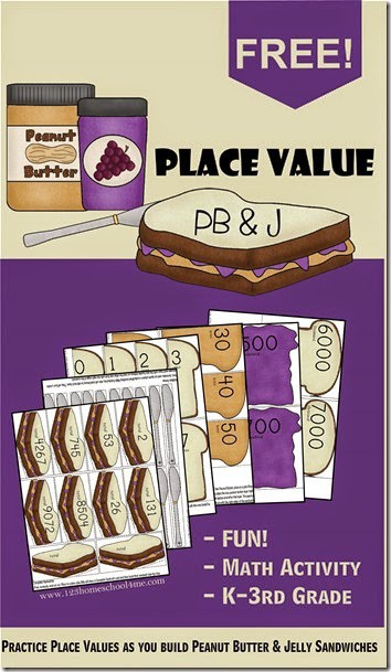 Build a Peanut Butter & Jelly Sandwich as you practice ones, tens, hundreds, and thousands place value in this super cute, free printable Place Value Games. This place value math games is a great way for first grade, 2nd grade, 3rd grade, 4th grade, and 5th grade students to grasp the concept of place value. Simply print pdf file withplace value game printable and you are ready to have fun with this place value activities!