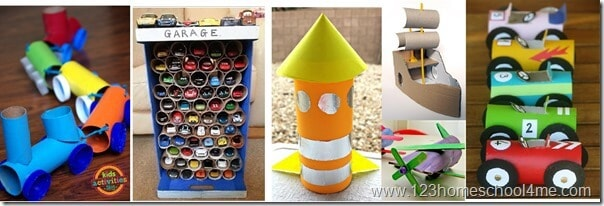 Toilet Paper Crafts of cars, trucks, trains transportation toilet paper roll crafts