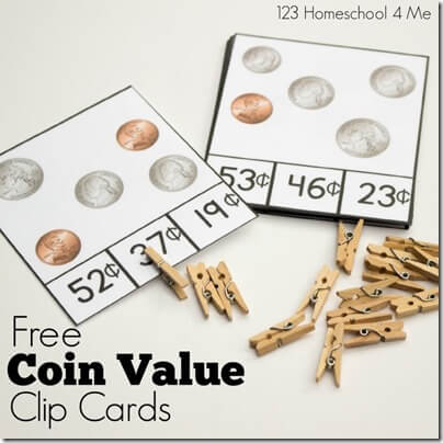 coin value clip cards square