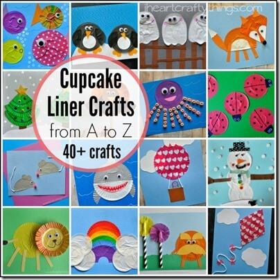 40 super cute Cupcake Liners Crafts from A to Z for toddler, preschool, kindergarten, 1st grade (alphabet)
