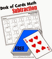deck of cards math - subtraction worksheets