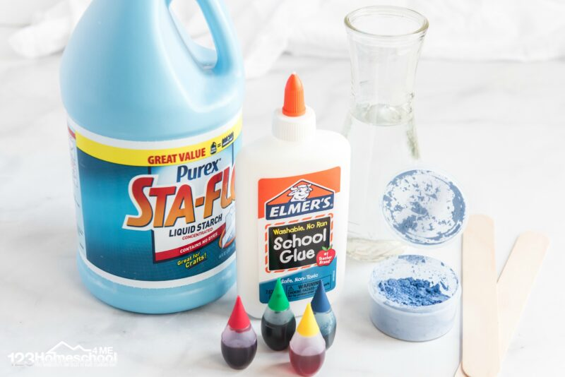 for this easy slime recipe you just need elmers white school glue, sta flo liquid starch, food coloring, and color changing pigment