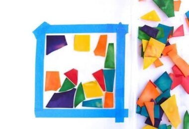 Stained Glass Pasta Craft for Kids