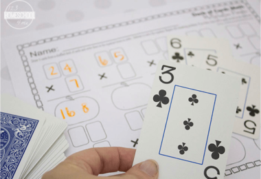 Deck of Cards Multiplication Worksheets
