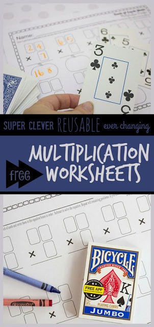 You are going to love these clever, reusable, and ever changing math worksheets! These multiplication worksheets use a deck of cards to make them not only fun, but excellent for developing math fluency with 3rd grade, 4th grade, 5th grade, and 6th grade students. #multiplication #mathworksheets #grade3 #grade4 #grade5 #homeschooling