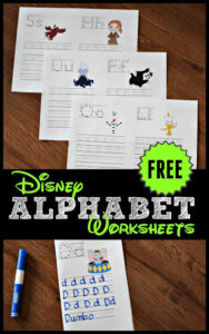 Disney worksheets to practice writing letters with preschool and kindergarten age kids