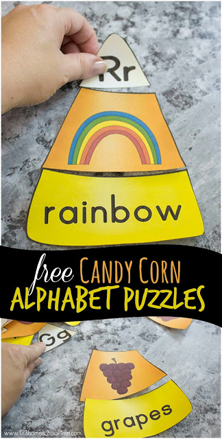FREE Candy Corn Phonics Puzzles - this super cute and easy to play alphabet activity is perfect for kids in toddlers, preschool, kindergarten and first grade. It's a great fall activity to learn the alphabet. #candycorn #kindergarten #alphabet