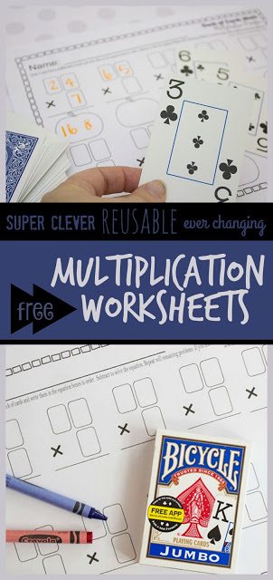 FREE Multiplication Worksheets that use a deck of cards in a super clever way to make them reusable and ever changing! These printable worksheets are quick and easy to prepare and are as much fun as a math game! Plus they provide great math practice for 3rd, 5th, and 4th grade. #multiplication #mathworksheets #mathgames