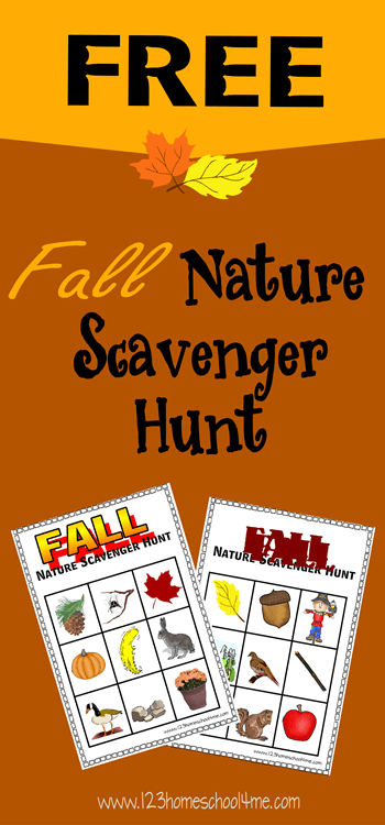 FREE Simple Fall Nature Scavenger Hunt - This is such a fun idea for Toddler, Preschool, Kindergarten and 1st grade kids (fall, kids activities)