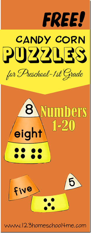 FREE Candy Corn Number Puzzles - LOVE these math puzzles are such a fun way for preschool, kindergarten, and 1st grade kids to practice counting and matching numbers and number words