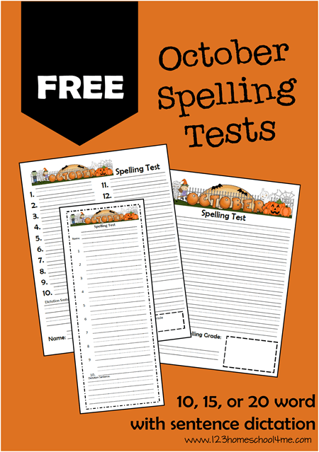 FREE printable spelling tests for October - so many choices to work with any spelling list for Kindergarten - 6th grade.