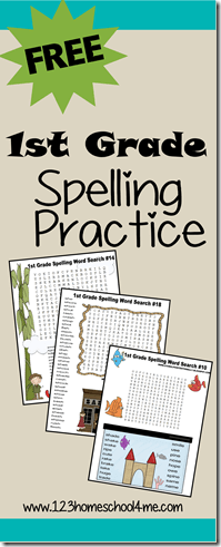 1st Grade Spelling Practice with printable word serach
