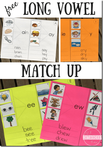 Long vowels are tricky so kids need time and practice to gain confidence when they're reading and writing. These cut and paste worksheets are a fun and handy way for first grade and 2nd grade students to improve their phonics skills as they sound out and spell long vowel words. Download and print the pdf file with the Long Vowel Sounds Worksheets for a literacy for helping young learners think about how sounds work in words. They'll get practice writing, too!