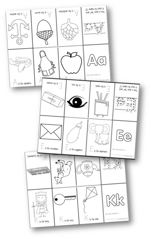 FREE Printable Alphabet book for every letter from A to Z; perfect for helping toddler, preschool, prek, and kindergarten age kids learn their letters