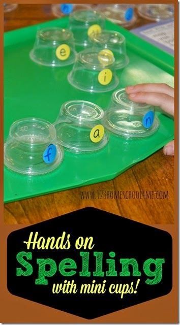 hands on spelling with mini cups