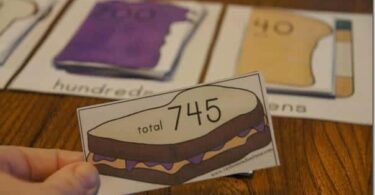 Super cute Peanut butter and jelly themd game for teaching place value in grade 2 math, grade 3 math, and grade 4 math