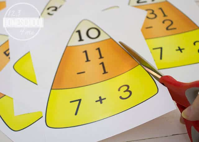 these candy corn math puzzles are a fun activty for 1st grade math during autumn