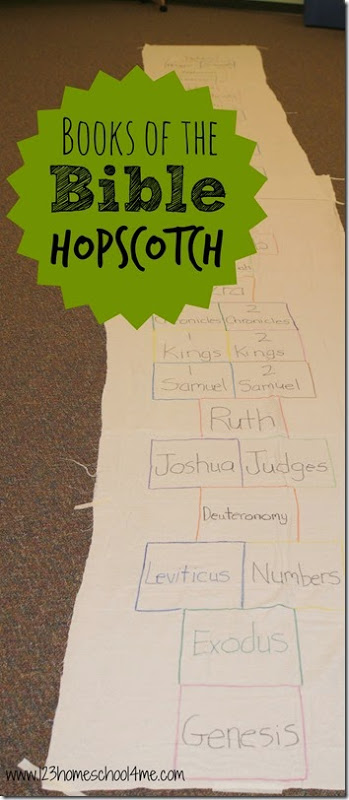 Books of the Bible Hopscotch - This hopscotch game will help Teaching Kids the Books of the Bible at home or in Sunday school in a fun, engaging, and memorable way. #sundayschool #bible #booksofthebible