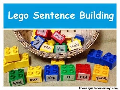 Build a Sentence with Lego - what a fun sentence activity for kindergarten, 1st grade, 2nd grade, and 3rd grade kids (homeschool, language arts)