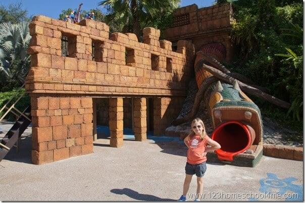 Coronado Springs Resort has an amazing playground for kids and pyramid hotel