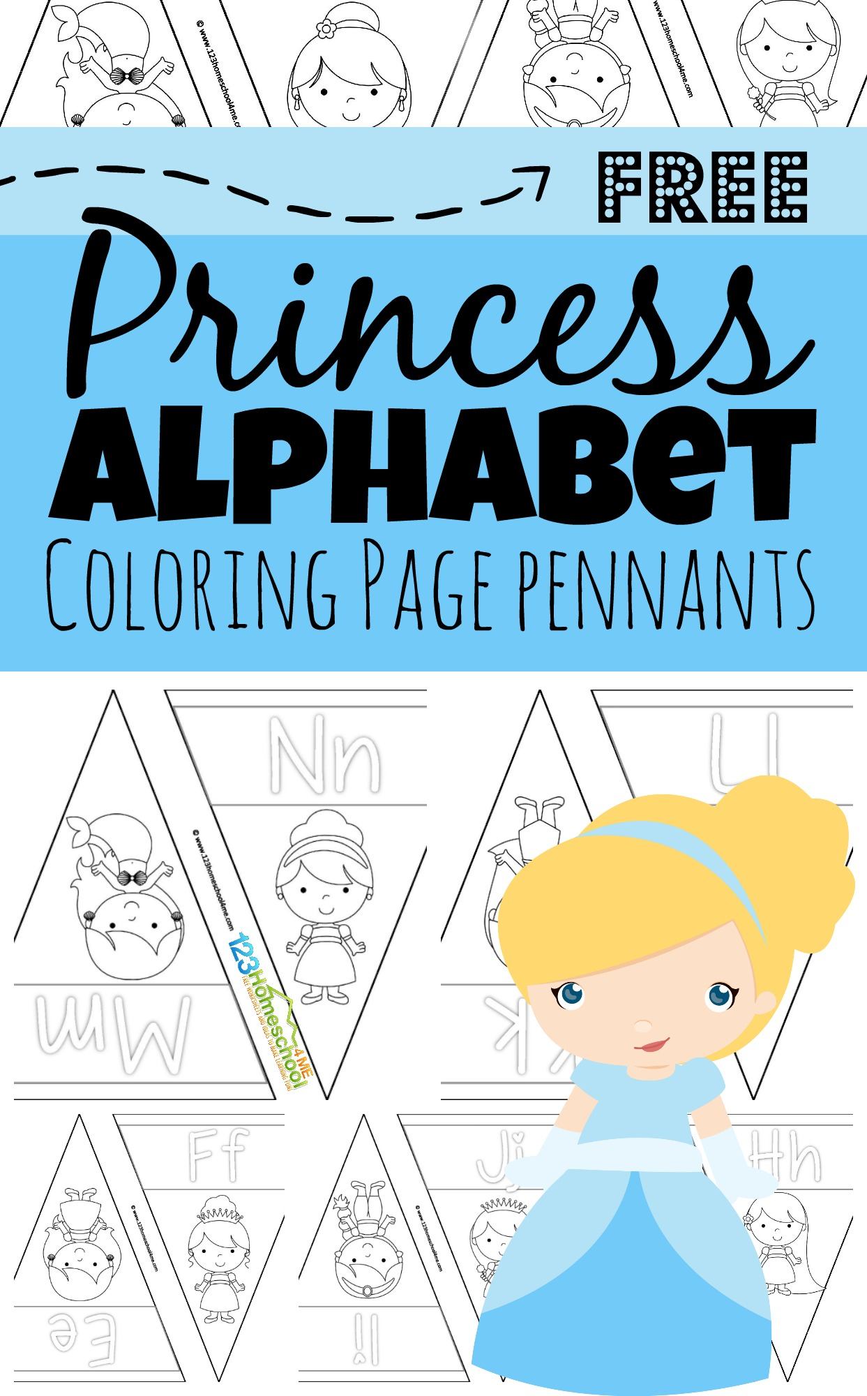 Girls are going to love coloring these super cute and simple disney princess alphabet coloring pages. These free printable, princess themed, alphabet pennants are a great way for toddler, preschool, pre k, kindergarten, and first grade students to learn their ABCs! Simply decorate these pennants and hang them on your wall to reference how to make upper and lowercase letters from A to Z.