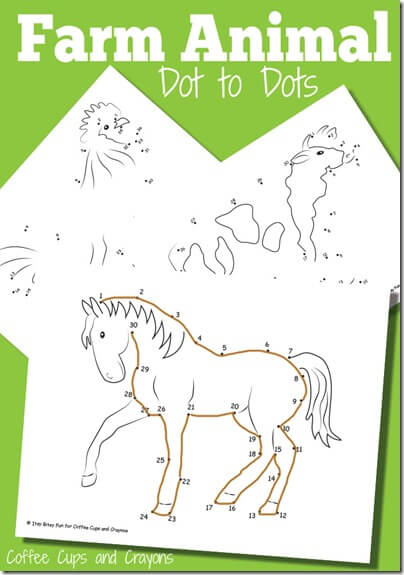 FREE Farm Animals Dot To Dot Worksheets