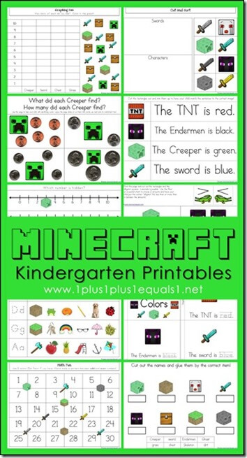FREE Minecraft Worksheets for Kids in Kindergarten - what a FUN way for kids to practice letters, colors, numbers and more!